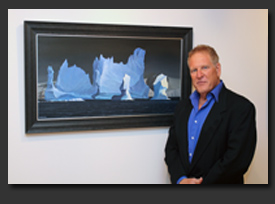 laguna beach artist Cliff Wassmann featured with one of his Antarctica paintings